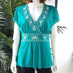 Bandolino Embroidered Faux Wrap Mesh Top XL